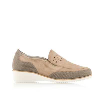 Scholl Madina Leather and Suede Handmade Wedge Shoe