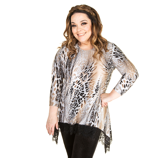 30% off Just Be You Print Top with Lace Trim