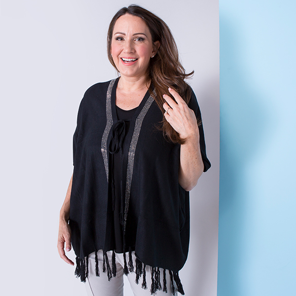Malissa J Bling Border Tie Front Cardigan with Tassels Black