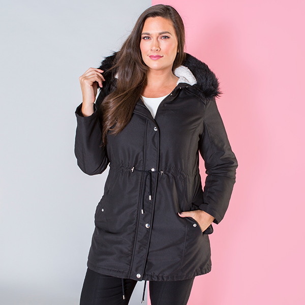 Longline Parka Jacket with Faux Fur Trim Hood Black