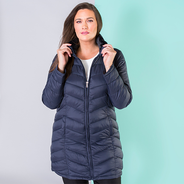 Padded Coat with Concealed Hood and Pack-Away Bag Midnight