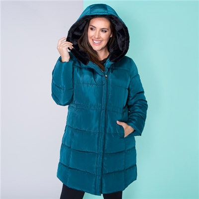 Luxe Padded Coat with Faux Fur Hood