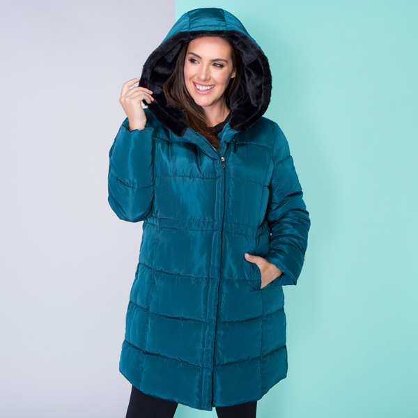Luxe Padded Coat with Faux Fur Hood Bottle Green