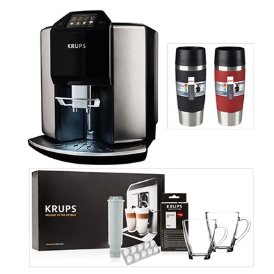 KRUPS Barista Automatic Espresso Bean to Cup Coffee Machine with KRUPS Starter Kit & 2 Tefal Stainless Steel Travel Mugs