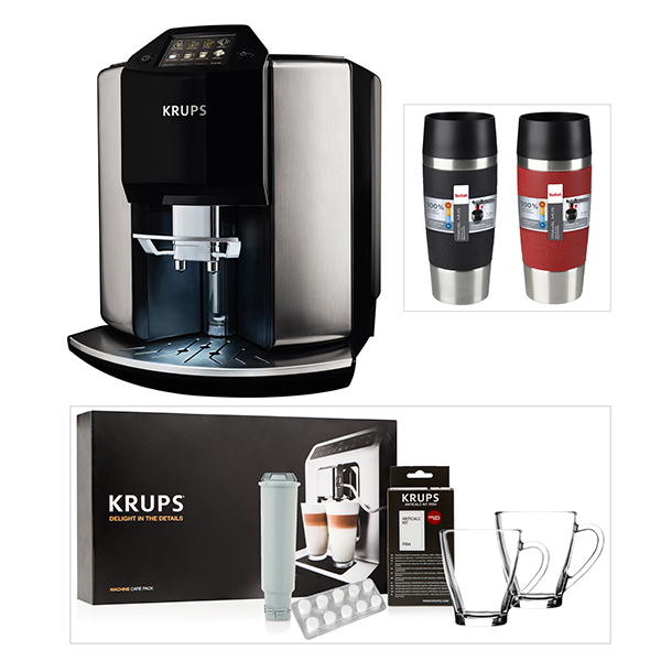 KRUPS Barista Automatic Espresso Bean to Cup Coffee Machine with Starter Kit & 2 Tefal Travel Mugs No Colour