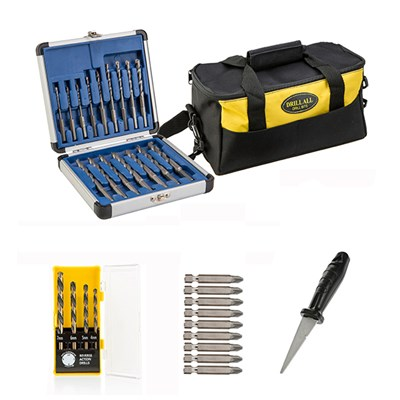 Drill All Drill Bits Set 16pc with 9pc Diamond Screwdriver Set, 4pc Reverse Action Drill Set, Diamond File & Tool Bag