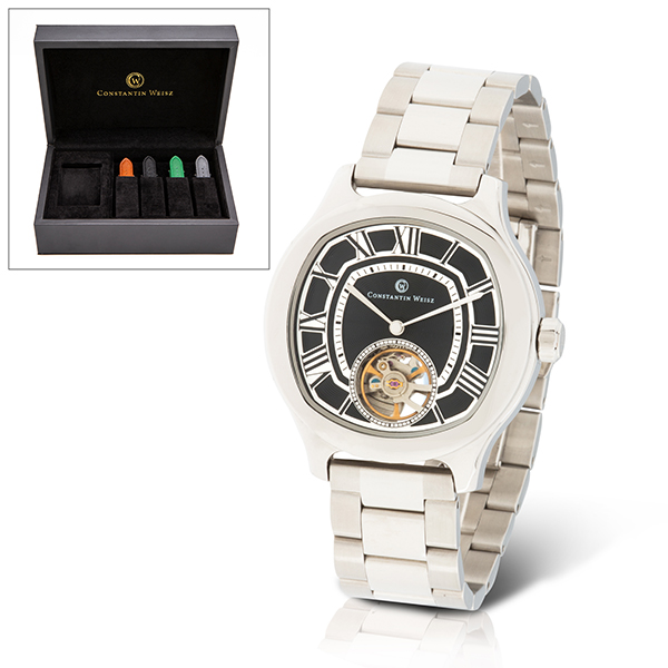 Constantin Weisz Gent's Ltd Edt (to 300pcs) Automatic Open Heart Watch with Interchangeable Straps & Luxury Box Silver