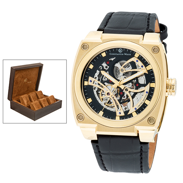 Constantin Weisz Gent's Ltd Edt Automatic Skeleton Watch with Genuine Leather Strap & 6 Slot Box Gold