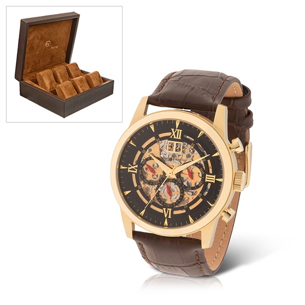 Constantin Weisz Gent's Automatic Shadow Dial Watch with Genuine Leather Strap & 6 Slot Collectors Box Gold
