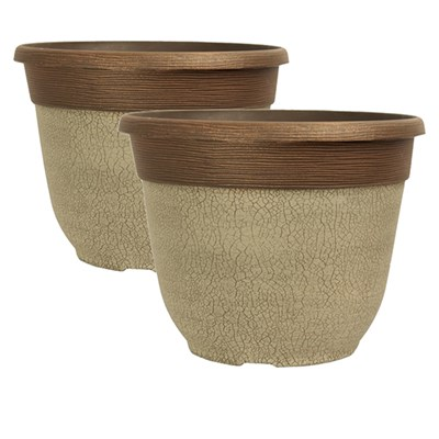 Pair of Crackle Planter Ceramic White 12inch