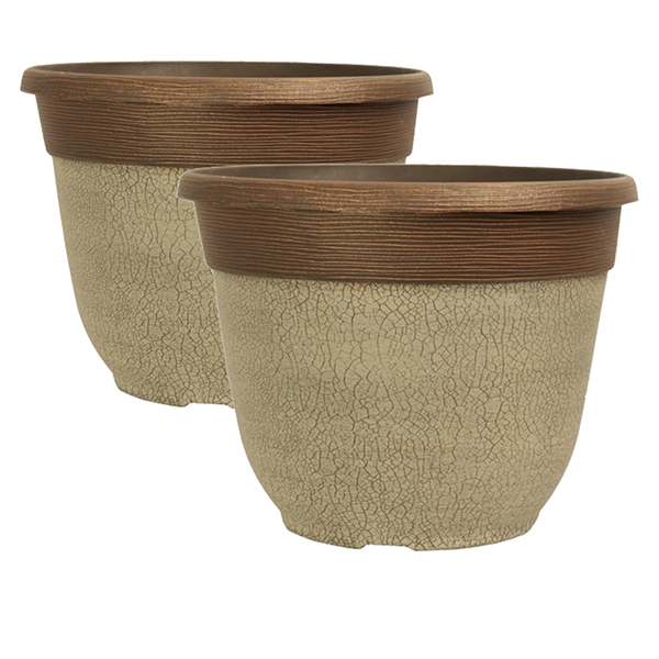 Pair of Crackle Planter Ceramic White 12inch No Colour
