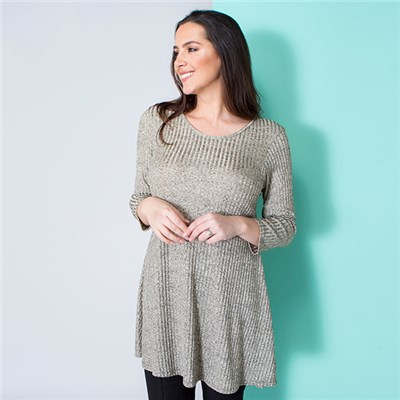 Nouvelle Ribbed 3/4 Sleeve Tunic Top
