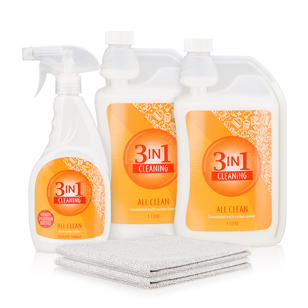 50% off 3 in 1 All Clean Essentials Kit - Includes 2x 1L All Clean Concentrate with 2x Microfibre Cloths and 1x 500ml Spray Bottle