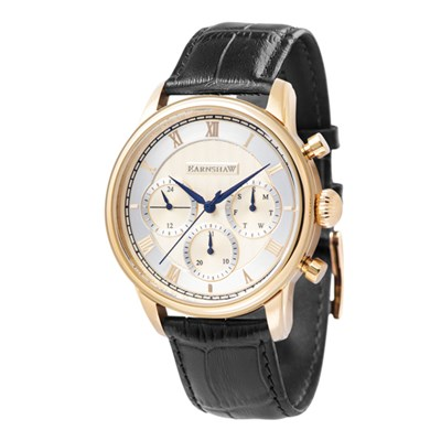 Thomas Earnshaw Gent's IP Plated Longitude Multi Function Watch with Genuine Leather Strap