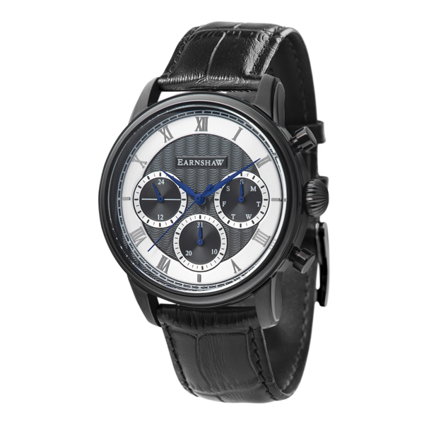 Thomas Earnshaw Gent's IP Plated Longitude Multi Function Watch with Genuine Leather Strap Black