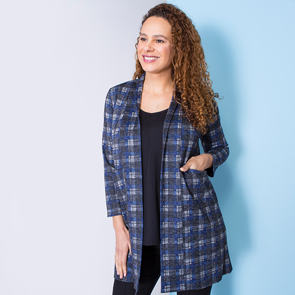 Nicole Brushed Print Pocket Jacket Check