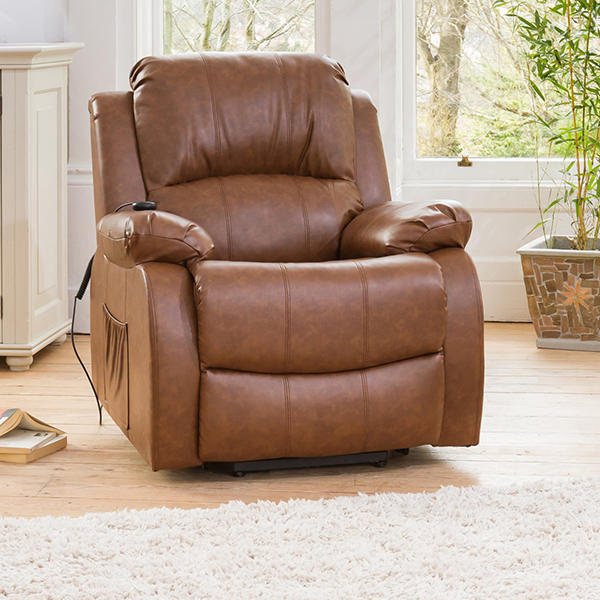 Oakham Rise and Recliner with Heat and Massage Functions Tan