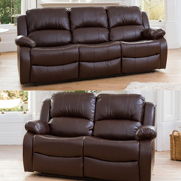 Oakham 3 plus 2 Seater Bonded Leather Sofas Brown