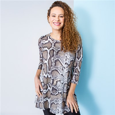 Nouvelle Animal Print Swing Top with 3/4 Sleeves