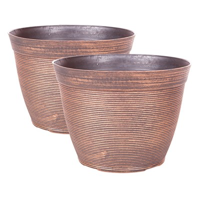 Helix Copper Planters Round (25cm) 10in (Pair)