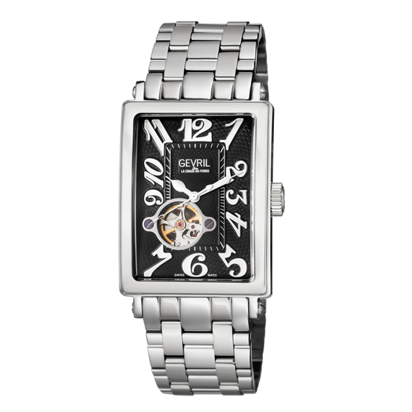 Gevril Gent's Avenue of Americas Ltd Edt Swiss Automatic Watch Ruben & Sons Movement with Stainless Steel Bracelet Black