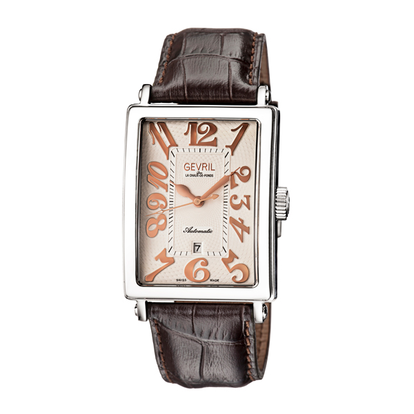 Gevril Gent's Avenue of Americas Ltd Edt Swiss Automatic Ruben & Sons Movement Watch with Genuine Leather Strap Silver