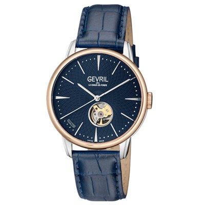 Gevril Gent's Mulberry Ltd Edt Swiss Automatic Ruben & Sons Movement Watch with Genuine Leather Strap