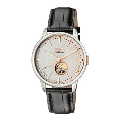 Gevril Gent's Mulberry Ltd Edt Swiss Automatic Ruben & Sons Movement Watch with Genuine Leather Strap & Pen