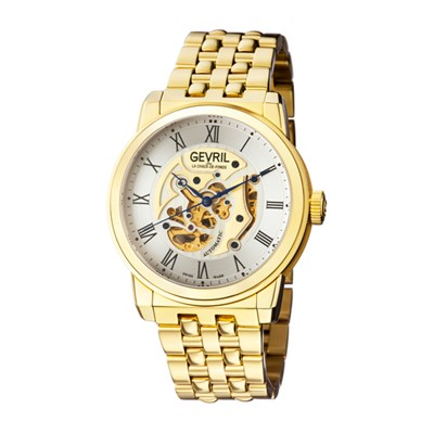 Gevril Gent's Vanderbilt Ltd Edt Swiss Automatic Ruben & Sons Movement Watch with Stainless Steel Bracelet