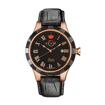 GV2 Gent's Scacchi Ltd Edt Swiss Automatic Ruben & Sons Movement Watch with Genuine Leather Strap
