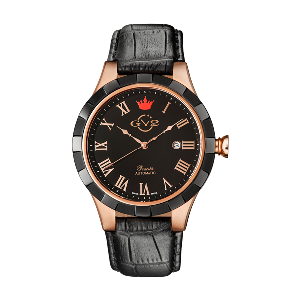 GV2 Gent's Scacchi Ltd Edt Swiss Automatic Ruben & Sons Movement Watch with Genuine Leather Strap Rose Gold