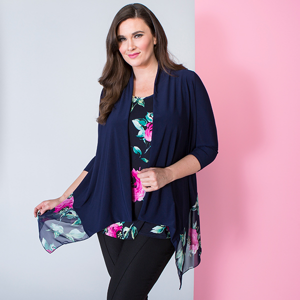 Nicole Chiffon Trim Printed Soft Jacket Set Navy