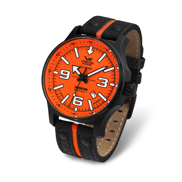 Vostok Europe Gent's Automatic PVD Plated Expedition N1 Watch with Genuine Leather Strap Orange