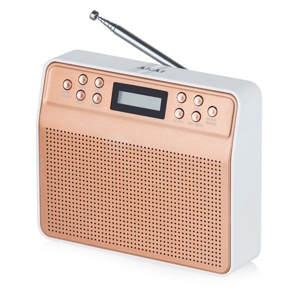 Image of Akai Dynmx Blush Gold Portable DAB Radio with Clear Sound Quality and LCD Backlight Screen