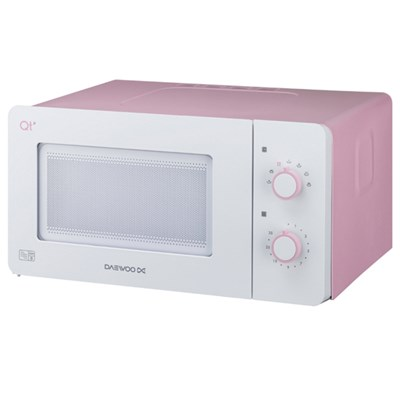 Daewoo Pink/White Compact Manual Control Microwave Oven 600W 14L