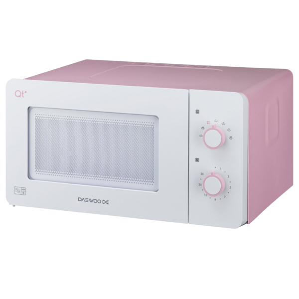 Daewoo Pink/White Compact Manual Control Microwave Oven 600W 14L No Colour