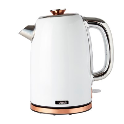 Tower White and Rose Gold Rapid Boil Kettle 3000W 1.7L
