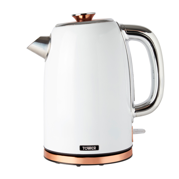 Tower White and Rose Gold Rapid Boil Kettle 3000W 1.7L No Colour