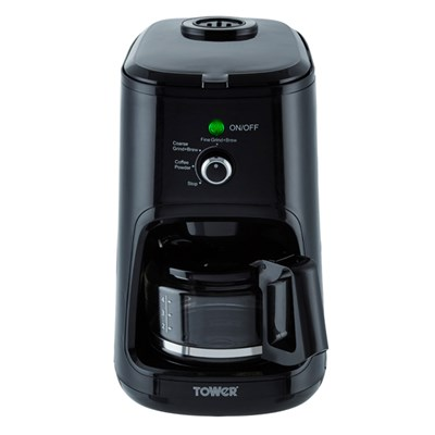 Tower Coffee Maker with Coarse and Fine Grinding Options