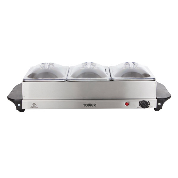 Tower 200W Three Tray Buffet Server with Adjustable Temperature Setting, LED Power Indicator and Plate Warmer No Colour