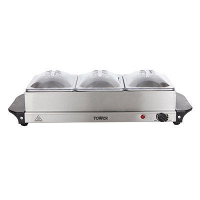 Tower 200W Three Tray Buffet Server with Adjustable Temperature Setting, LED Power Indicator and Plate Warmer