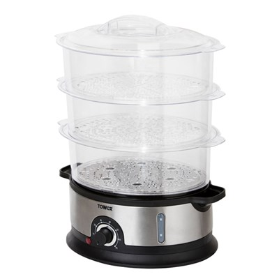 Tower 800W 9L Health 3 Tier Steamer with Collapsible Baskets