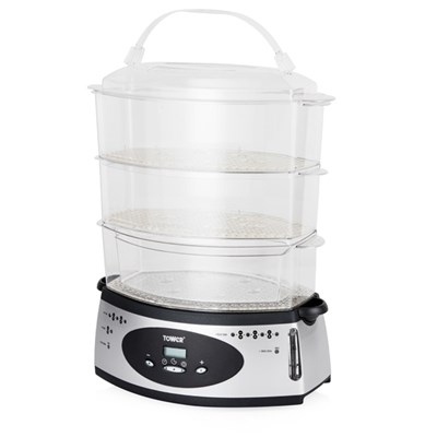 Tower 650W 9.5L 3 Tier Digital Steamer with External Water Indicator