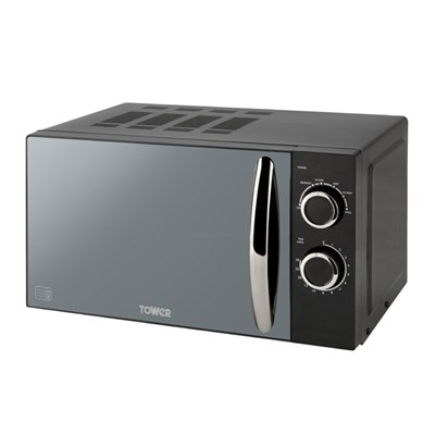 Tower Black Elements Manual Solo Microwave with Mirror Door 20L 800W