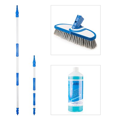 Vario Wash Soft Bristle Brush with 2 x Telescopic Handles and Vario Wash Outdoor Cleaner Concentrate