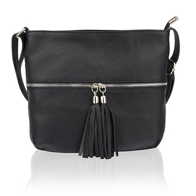 Woodland Leather Hand Bag Top Zip with Tassel