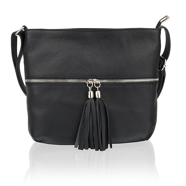Woodland Leather Hand Bag Top Zip with Tassel Black