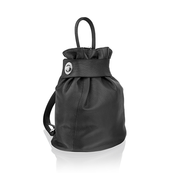 Woodland Leather Adjustable Rucksack Black