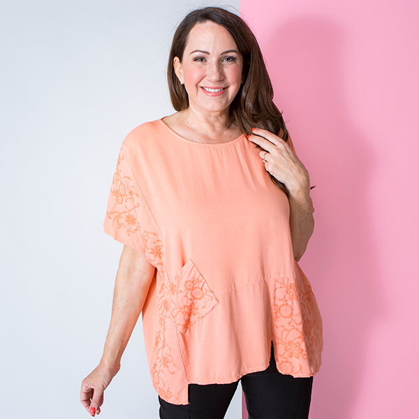 Maysa Embroidered Panel Top Orange