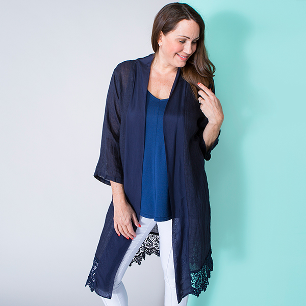 Maysa Long Line Silk Trim Soft Jacket Navy